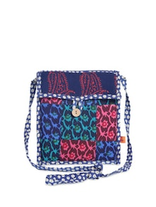 Blue & Pink Patchwork Sling Bag - Desiweaves