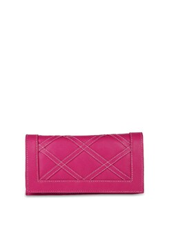 Pink Faux Leather Clutch - ALESSIA