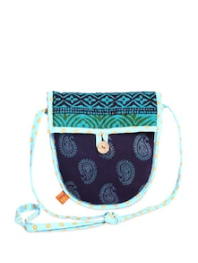 Ethnic Navy & Green Sling Bag - Desiweaves