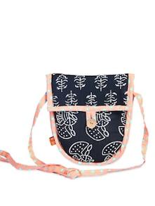 Ethnic Black & Peach Sling Bag - Desiweaves