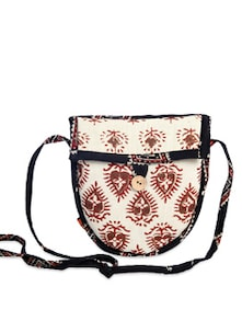 Ethnic White & Black Sling Bag - Desiweaves
