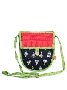 Ethnic Black & Red Sling Bag - Desiweaves