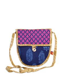 Ethnic Navy & Pink Sling Bag - Desiweaves