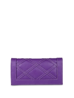 Purple Faux Leather Clutch - ALESSIA