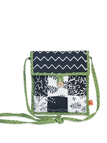 Ethnic Black & White Sling Bag - Desiweaves