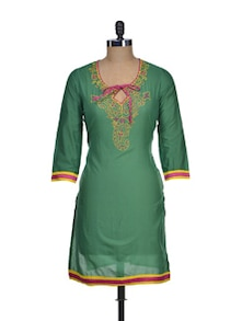 Cotton Green Kurti With Tie Up Neckline - NEE