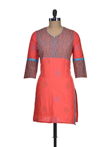 Colour Blocked Cotton Kurti - NEE