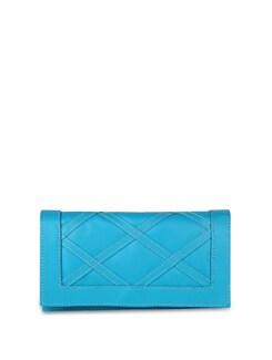 Bright Blue Faux Leather Clutch - ALESSIA