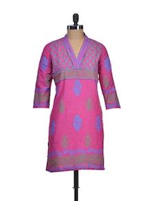 Printed Pink Cotton Kurti - NEE