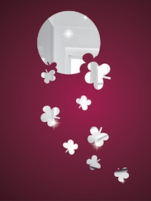Falling Flowers 3D Mirror Sticker - Zeeshaan