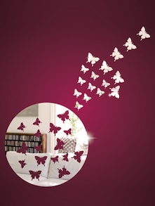 Flying Butterflies 3D Mirror Sticker - Zeeshaan