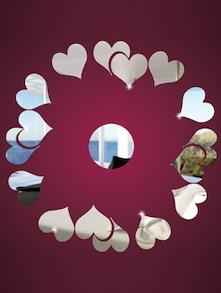 Beautiful Hearts 3D Mirror Sticker - Zeeshaan