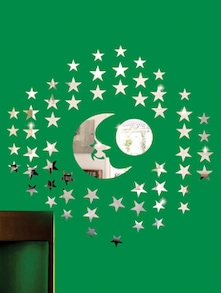 Stars And The Moon 3D Mirror Sticker - Zeeshaan