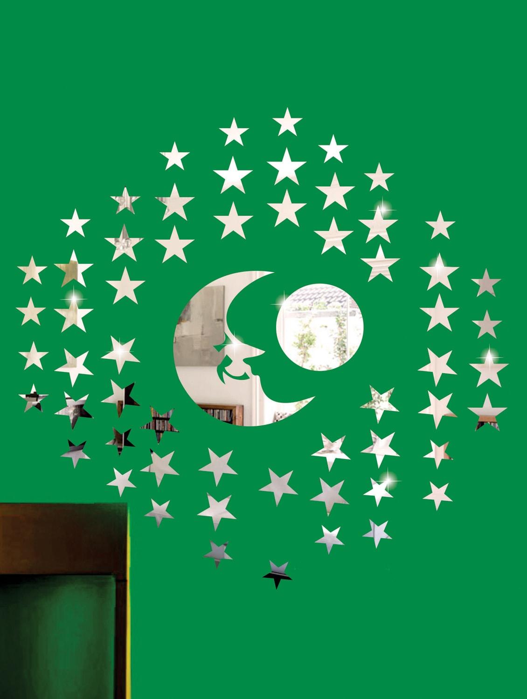 Stars And The Moon 3D Mirror Sticker - Zeeshaan