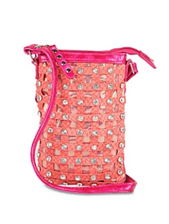 Pink Designer Sling Bag With Diamonte Studs - ALESSIA