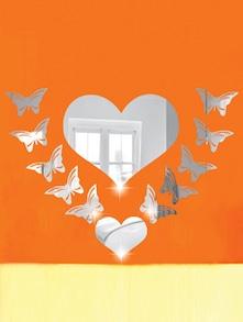 Butterflies Around Heart 3D Mirror Sticker - Zeeshaan