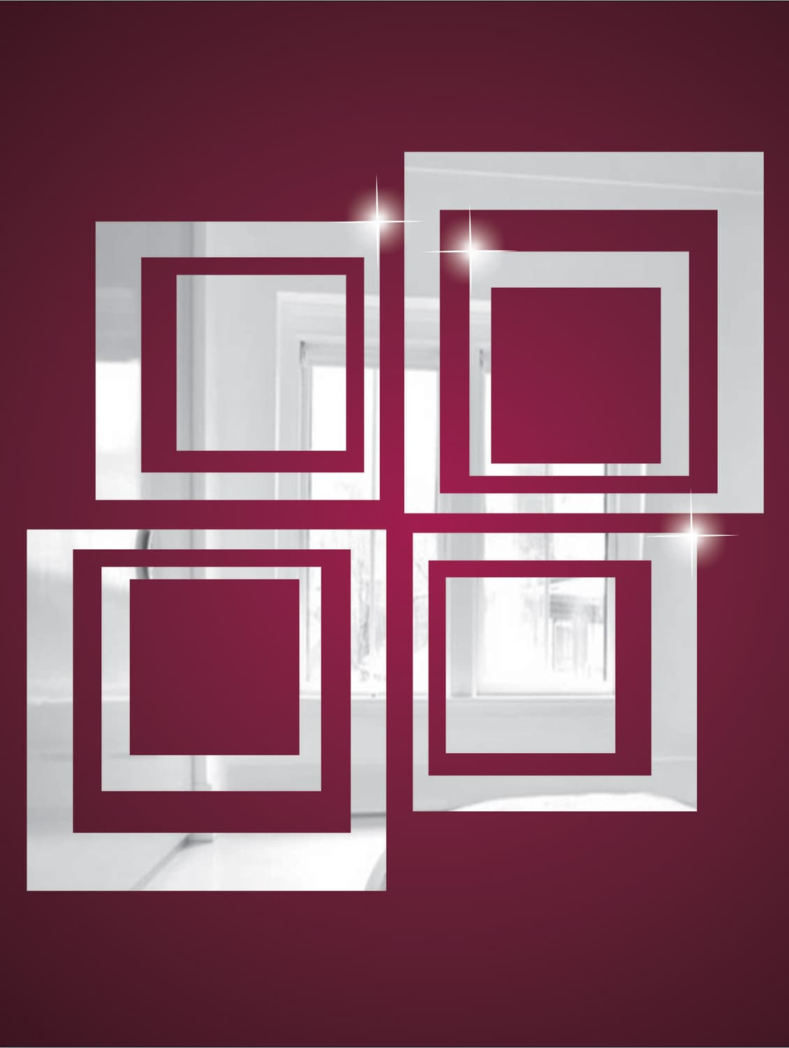 Squares 3D Mirror Sticker - Zeeshaan 67298