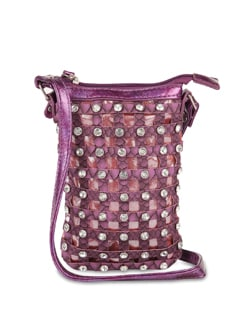 Purple Designer Sling Bag with Diamonte Studs - ALESSIA