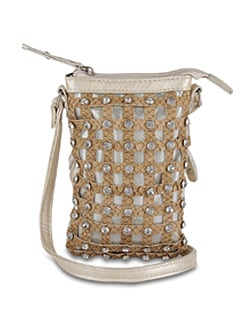 Beige Designer Sling Bag With Diamonte Studs - ALESSIA
