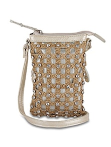 Beige Designer Sling Bag With Diamonte Studs - ALESSIA