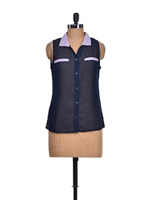Stylish Navy & Purple Sheer Shirt - KAXIAA