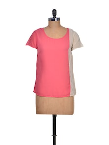 Stylish Pink & White Colorblocked Top - KAXIAA
