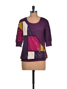 Stylish Purple Jersey Top - KAXIAA