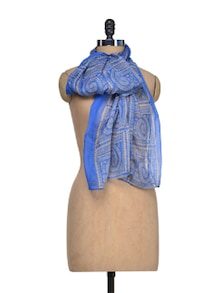 Blessed In Blue Printed Scarf - YOUSHINE