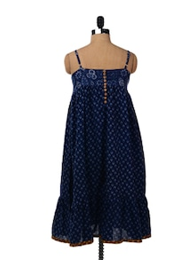 Blue Knee Length Dress With Adjustable Straps - Desiweaves