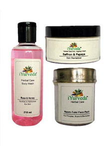 Rose Honey Body Wash, Saffron Papaya  AntiWrinkle Cream & Neem Tulsi Face Pack -  Set Of 3 - IYurveda