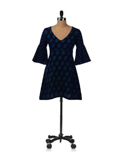 Blue Knee Length A-Line Dress With Flared Sleeves - Desiweaves