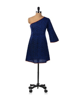 Blue One Shouldered A Line Dress With Flair Sleeves - Desiweaves