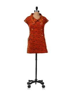 Rust Collared Dress With Big Patch Pockets At The Side - Desiweaves