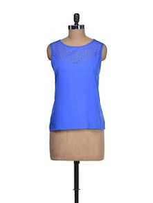Indigo Top With Lacy Yoke - QUEST