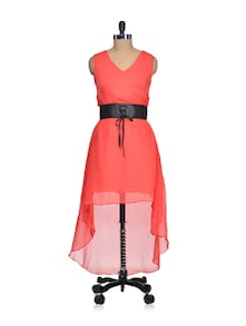 Long Coral Asymmetrical Dress - QUEST