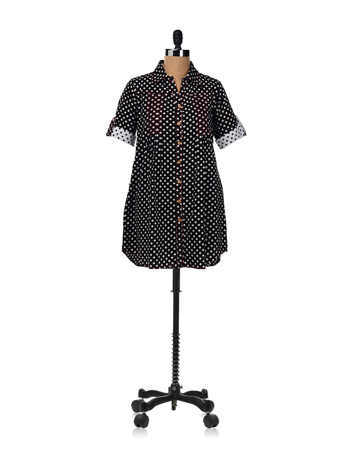 Flared Shirt Dress With Polka Dots - RIGOGLIOSO