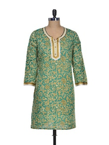 Gracious Green Cotton Kurti - Mishka