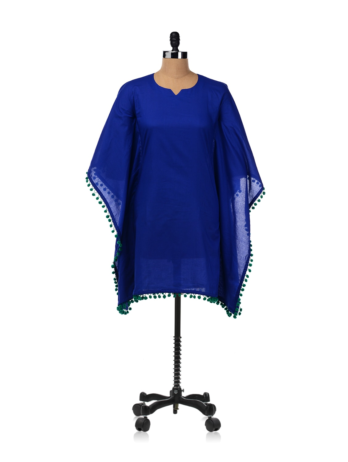 Kaftan Tunic Dress With Pom Pom Trim - RIGOGLIOSO 6834