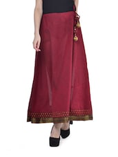 Ethnic Maroon South Cotton Long Skirt - By