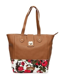 Stylish Brown Floral Tote Bag - Addons