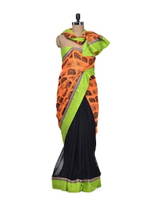 Stylish Black & Orange Printed Saree - Indie Cotton Route