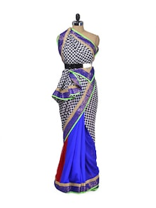 Blue Polka Georgette Saree - Indie Cotton Route