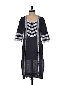 Traditional Black & Silver Cotton Kurta - Indie Cotton Route