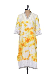 White & Yellow Tie-Dye Cotton Kurta - Indie Cotton Route