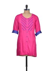 Pink Cotton Linen Tunic - Indie Cotton Route