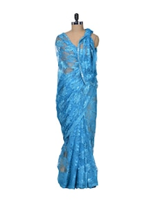 Turquoise Floral Lace Saree - Indie Cotton Route