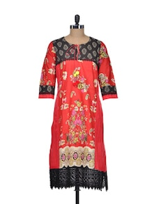 Red Paisley Cotton Kurta - Indie Cotton Route