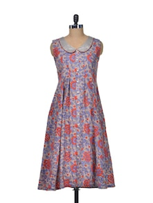 Blue & Red Floral Cotton Dress - Indie Cotton Route