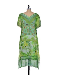 Green Chiffon Kaftan Dress - Indie Cotton Route