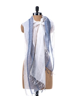White And Blue Linen Stole - MIR